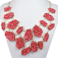 10% OFF For All Items Red Irregular Druzy Stone Layers Statement Necklace, Bubble Bib Necklace, Pretty Necklace For Party-153424929