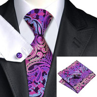 Paisley Necktie Silk Necktie with Hanky and Cufflinks