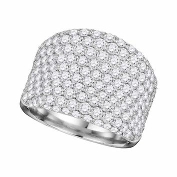 14kt White Gold Women's Round Pave-set Diamond Wide Fashion Band Ring 3-7-8 Cttw - FREE Shipping (US/CAN)