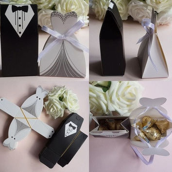 Quality 50 Pcs Tuxedo Dress Groom Bridal Wedding Party Favor Gift Ribbon Candy Boxes [7981695047]
