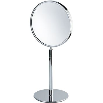 DWBA Round Cosmetic Makeup 4x Magnifying Table Mirror, w/ Swivel Head. Chrome