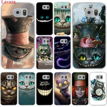 Lavaza Alice in Wonderland  Cheshire Cat Hard Transparent Phone Case for Samsung Galaxy S8 S9 Plus S3 S4 S5 S6 S7 Edge Cover