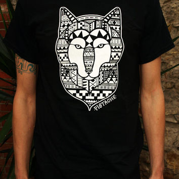 AZTEC WOLF T SHIRT black top mens boys screen printed clothing folk art fabric mexican native american 80s skull animal tattoo print retro