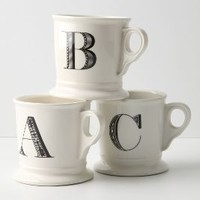 Monogram Mug by Anthropologie in White Size: