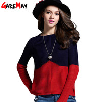GAREMAY 2016 Sweater Women Knitted Sweater Short Contrast Color Splice Sweater For Women Simple Slim Pullover Maglioni Donna 064