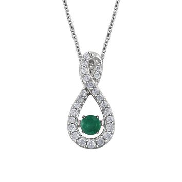 Emerald & 1/6 Ctw Diamond Infinity Necklace in 14k White Gold, 18 Inch