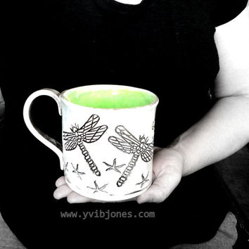 Dragonfly Ceramic Mug, Large Tea Cup, Handmade Pottery, Lime Green, Neon Green
