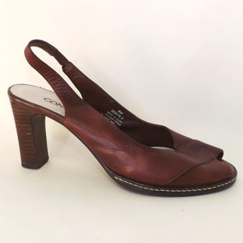 Vintage 1980s Connie Size 8 Retro Sexy Brown Leather Peep Toe Sling Back Pumps Wooden Heel Summer Sandals Shoes Boho Fall Indie Chick