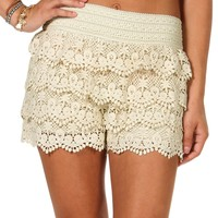Sale-natural Basic Crochet Shorts
