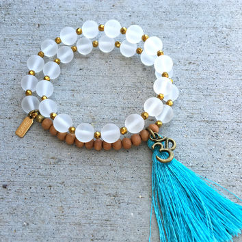 Matte Clear Quartz and Sandalwood, 'Amplification and Healing', 27 Bead Wrist Mala Wrap Bracelet