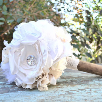 Vintage Fabric Bouquet with Brooch Accents