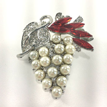 Grape Cluster Fruit Brooch Pendant Mid Century Modern Astronaut Wives Style Statement Jewelry Faux Pearl Ruby Rhinestones Glamour Jewelry