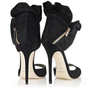 Black & Satin Suede Sandals | Peep Toe Shoes | Katarina | JIMMY CHOO Shoes