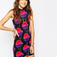 Your Eyes Lie High Neck Bodycon Dress With All Over Ice Cream Print