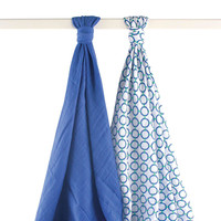 Yoga Sprout 2 Pack Muslin Swaddle Blankets - Blue and Green