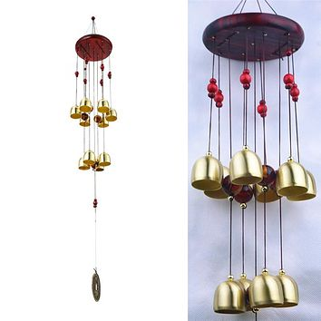 Windchimes 10 Bells Pentagon Pavilion Money Drawing Yard Garden Outdoor Living Feng Shui Wind Chimes For a Gift Home Decor