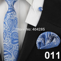 men ties adult blue neck tie set cufflinks pocket square wedding business red necktie black Handkerchiefs