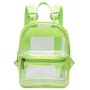 Clear Neon Green Trim Backpack