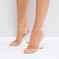 Public Desire Alia Clear Heeled Sandals at asos.com
