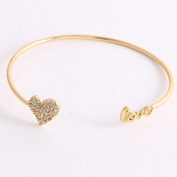 Heart Love Cuff Bracelet - Gold or Silver