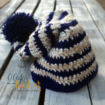 Santa, Santa Hat, Navy Striped Hat, Baby Hat, Christmas Hat, Navy Striped, Christmas Gift, Holiday, Costume, Photo Prop, Photography Prop