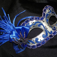 Halloween Masquerade Mask in Royal Blue and Silver with Spider Accent