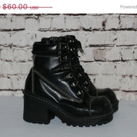 40% OFF 90s chunky boots lace up combat black vegan leather platform shoes ankle grunge punk cyber goth boho festival hipster minimalist gyp