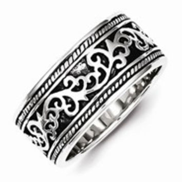 Sterling Silver Antiqued Wedding Band Ring
