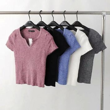 V-neck Short sleeve short paragraph sweater