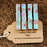 Bohemian Mini Clothespin Clips - Set of 4 mini patterned clips