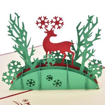 3D Pop Up Holiday Greeting Cards Deer Jesus Reindeer Christmas Thanksgiving vintage folding greeting  thank you christmas card