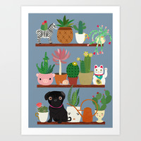 Cactus Shelf with Pug Art Print by Elisandra