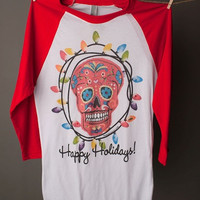 "Gina ""Happy Holidays Sugarskull"" Tee"
