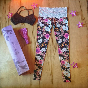 Lace Waist Flower Yoga Leggings Workout pants Hawaiian  womens sustainable lifestyle flare  dance