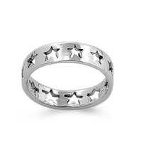 Sterling Silver Galaxy Stars Eternity 4MM Petite Ring