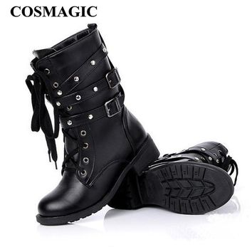 COSMAGIC 2017 New Women Buckle Winter Motorcycle Martin Boots British Style Gothic Punk Low Heel Black Boot Shoe Plus Size