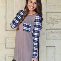 PLAID MOCHA TUNIC