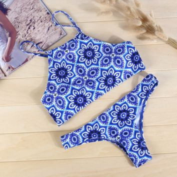 Blue Procelain Print Halter Two Piece Bikini Set swimsuit BK057