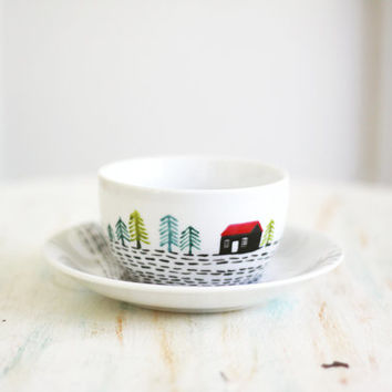 Hand painted porcelain cup and saucer - Red roof hut in a landscape