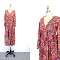 70s Boho Dress Floral Maxi Empire Waist Long Sleeve Gypsy Hippie 1970s Deep V Neck Vintage Graphic Bohemian Retro Pink Purple Medium Small
