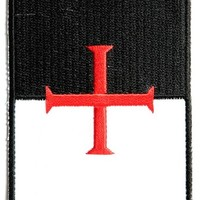"""Embroidered Iron On Patch - Knights Templar Flag 3.5"""" Patch"""