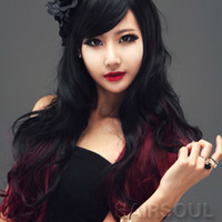 Sexy black+red Full long curly wave Wigs hand Weave Hair for women cosplay party