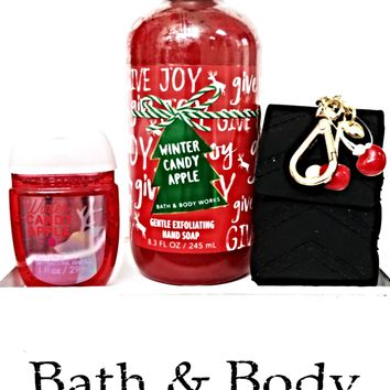 Bath and Body Works Winter Candy Apple Hand Soap, PocketBac & Cherry Holder