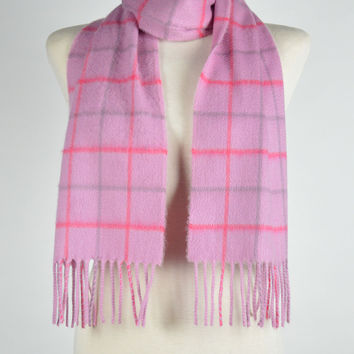 Luxury Cashmere Scarf in Pink Windowpane Check