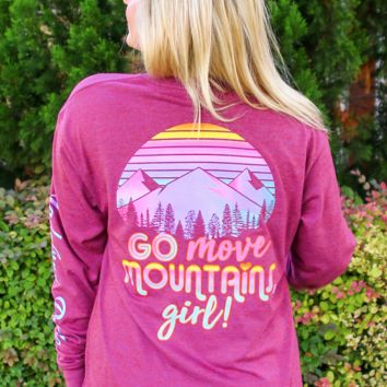 Jadelynn Brooke: Go Move Mountains Girl L/S Tee {H. Maroon}