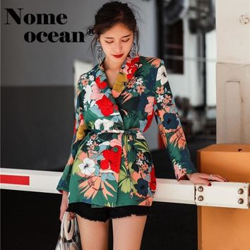 2018 Summer Women's Blazers Floral Print Vintage Suit Jackets Tencel Linen Lace-up Waist OL Fashion Coats Blazer Suit M18042604