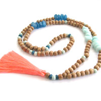Boho Tassel Necklace - Blue & Peach