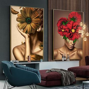 Nordic Style Girl And Flower Wall Art Canvas Painting Posters And Prints Home Decor Wall Pictures For Living Room Modern Poster