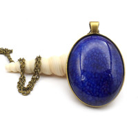 "Blue Dragon Vein Necklace Pendant, Large 24"" Cobalt Blue and Antique Bronze Necklace"