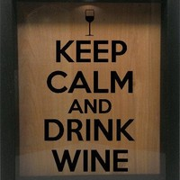 """Wooden Shadow Box Wine Cork/Bottle Cap Holder 9""""x11"""" - Keep Calm and Drink Wine with Glass"""